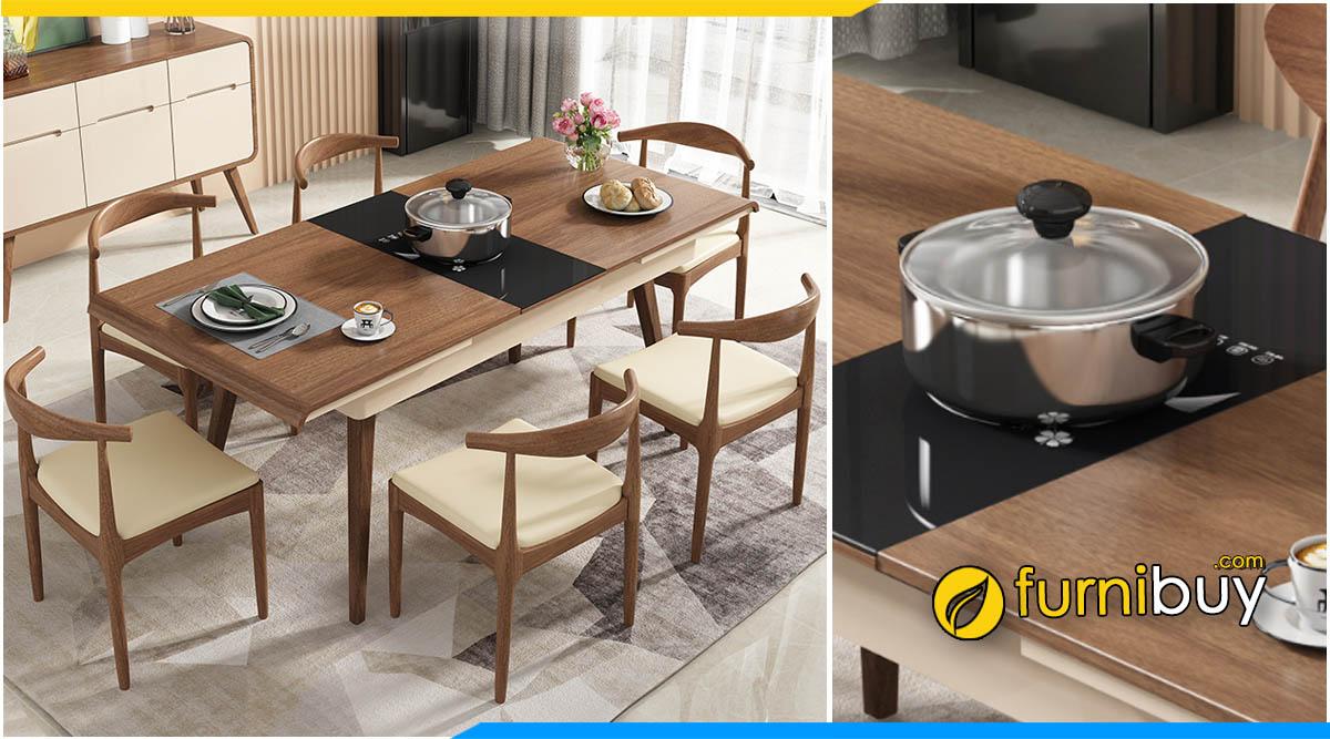 hình ảnh Bộ bàn ăn gỗ thông minh 6 ghế kéo dài