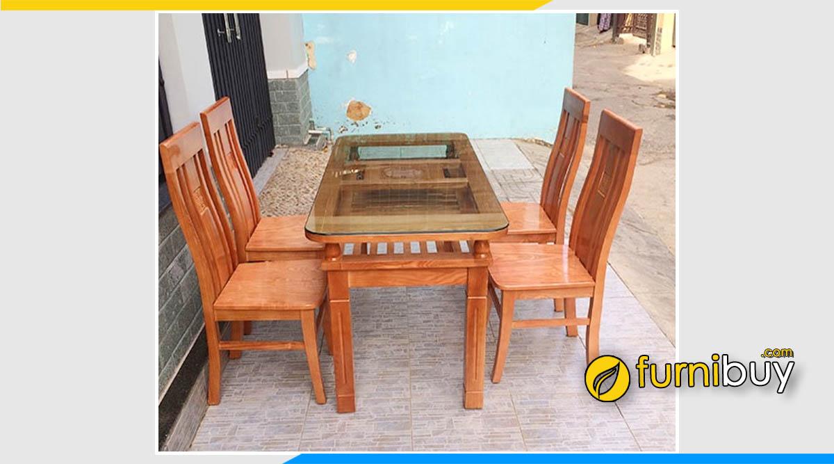 Bộ bàn ăn gỗ xoan đào 4 ghế giá rẻ mặt kính