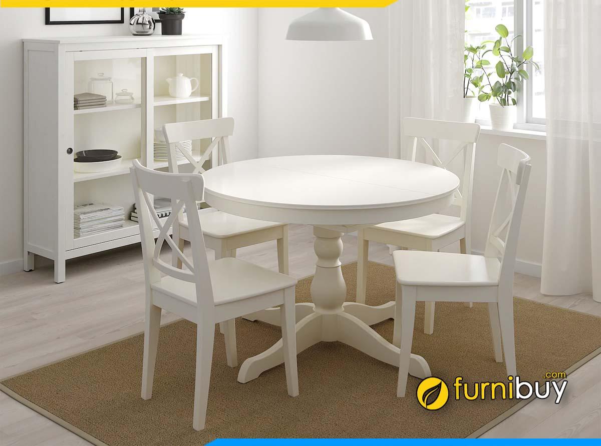Hình ảnh Bộ bàn ăn màu trắng 4 ghế hình tròn đẹp