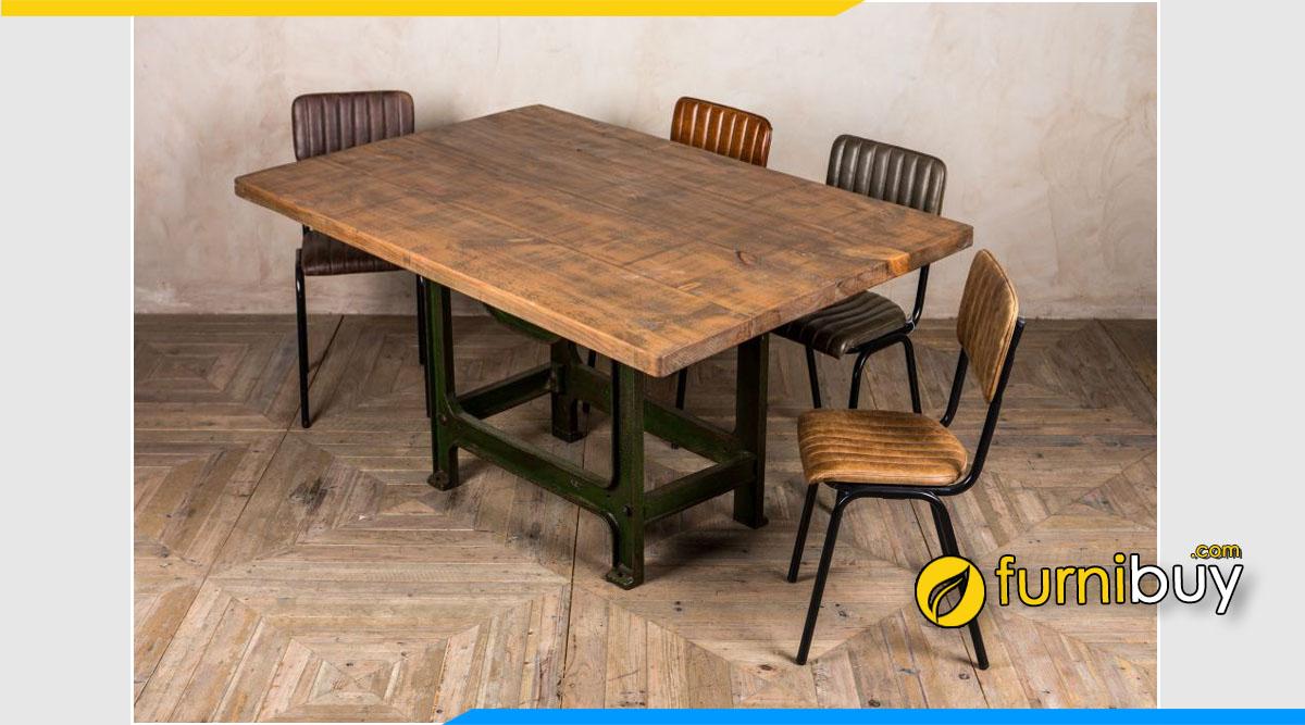 Hình ảnh bộ bàn ăn Retro chân sắt mặt gỗ đẹp