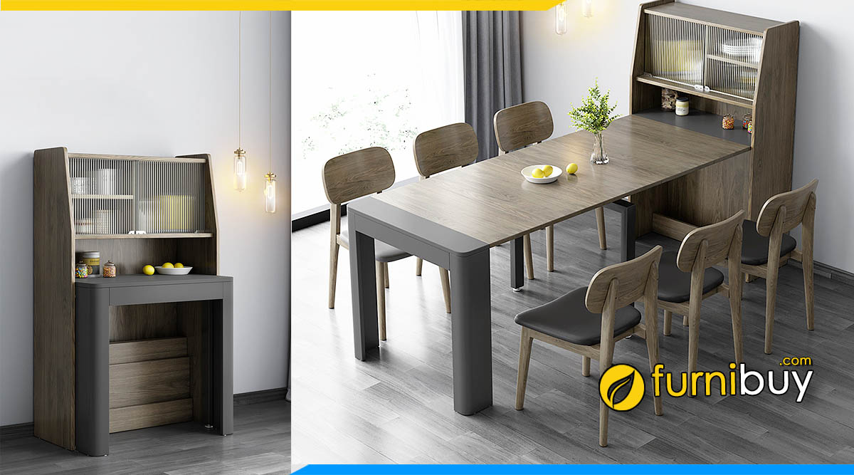 Hình ảnh Bộ bàn ăn thông minh 6 ghế gắn tường đẹp