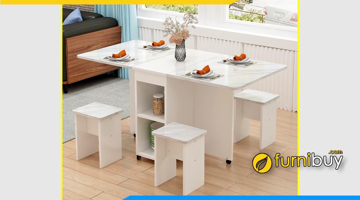 Hình ảnh Bộ bàn ăn thông minh màu trắng 4 ghế đẹp
