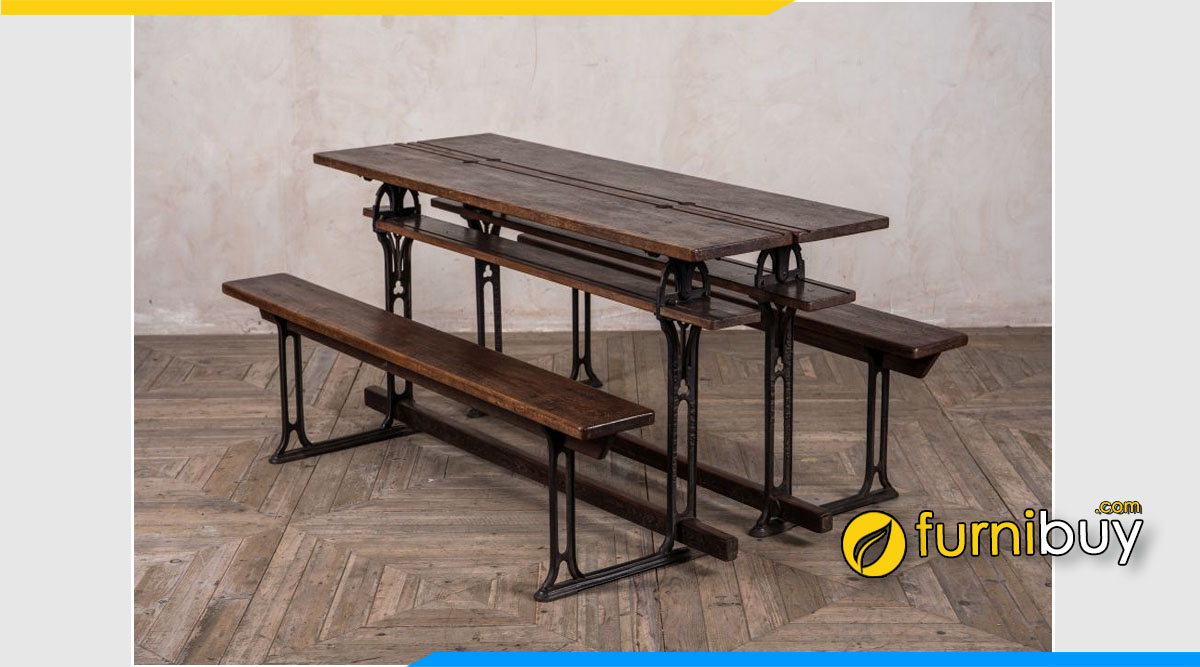 Hình ảnh bộ bàn ăn Vintage công nghiệp cổ điển