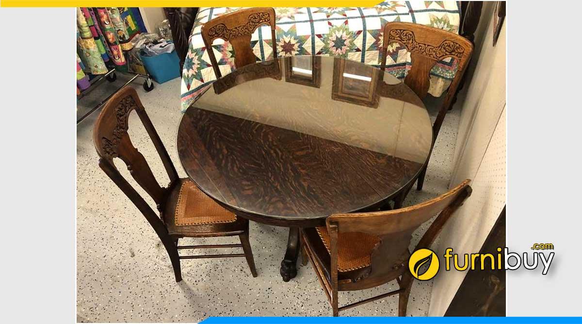Ảnh bộ bàn ăn vintage hình tròn cao cấp