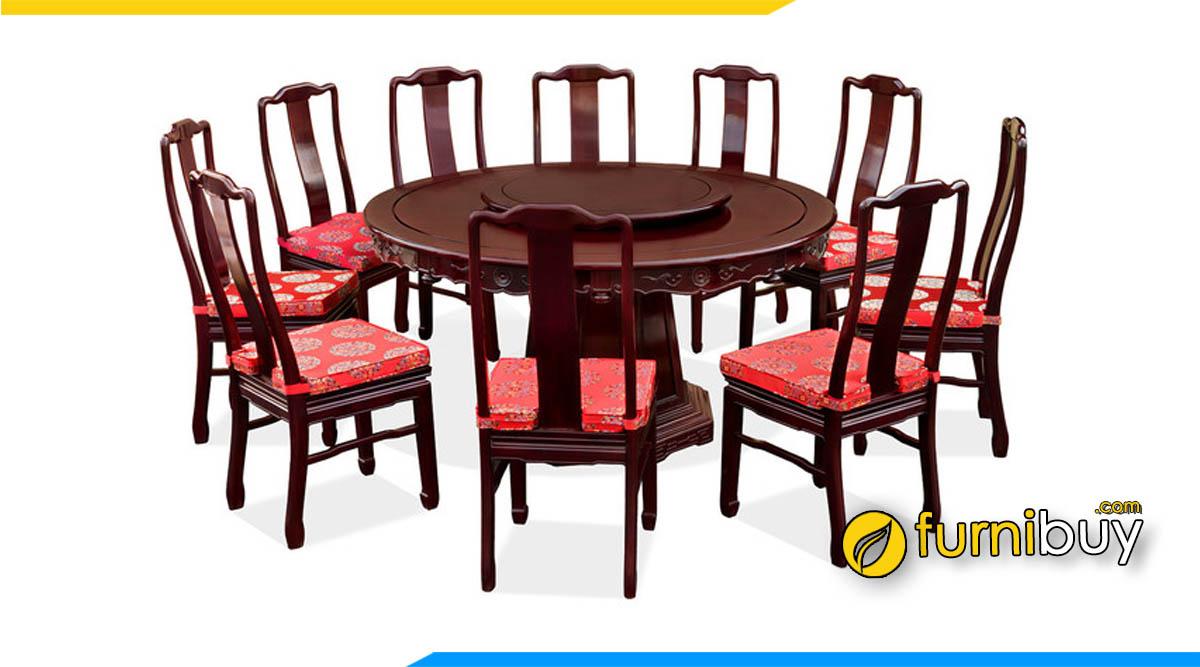 Hình ảnh Bộ bàn ăn xoay 10 ghế gỗ tự nhiên cao cấp