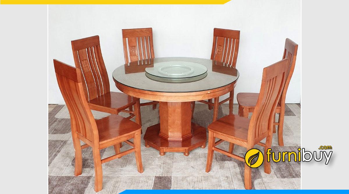 Hình ảnh Bộ bàn ăn xoay gỗ xoan đào 6 ghế truyền thống đẹp