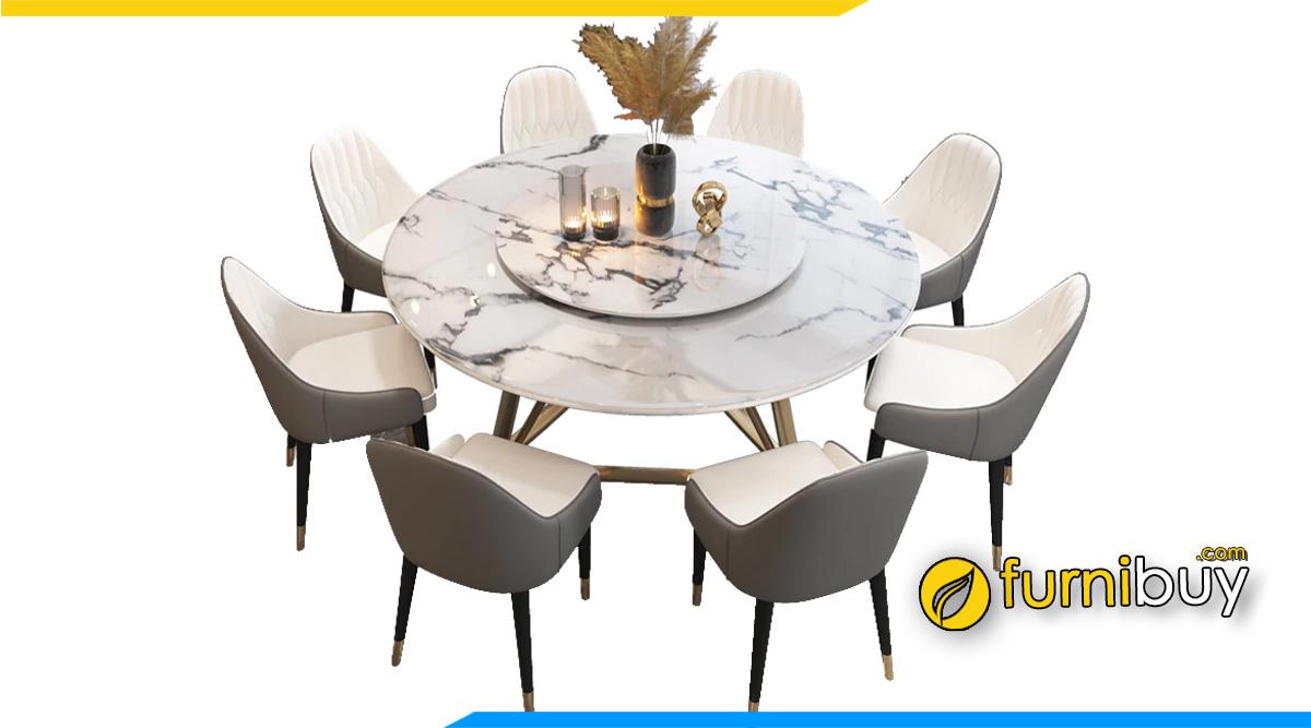 Hình ảnh Bộ bàn ăn xoay mặt đá 8 ghế cao cấp vân mây