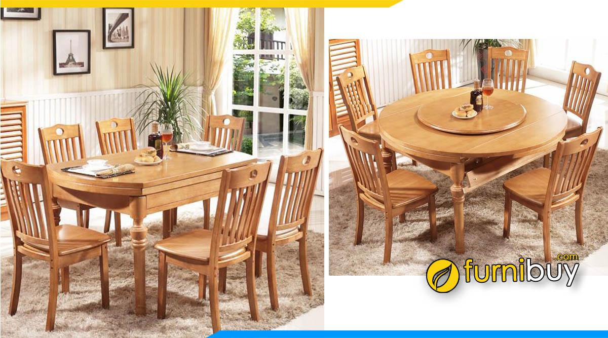 Hình ảnh Bộ bàn ăn xoay xếp gọn mặt gỗ sồi đẹp