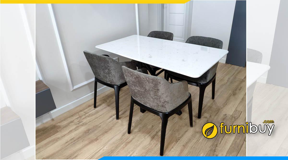 Hình ảnh Bộ bàn ghế ăn 4 ghế gỗ sồi mặt đá hiện đại