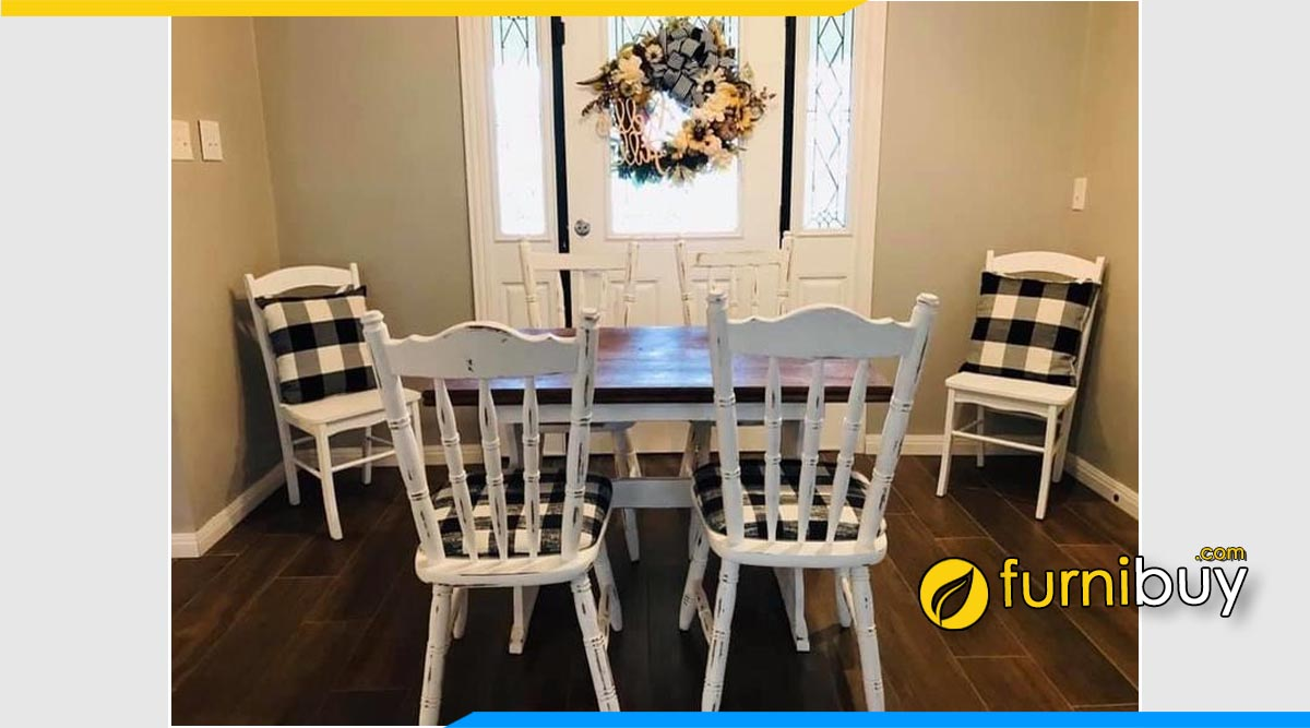 Ảnh bộ bàn ghế ăn vintage đẹp phong cách Bắc Âu