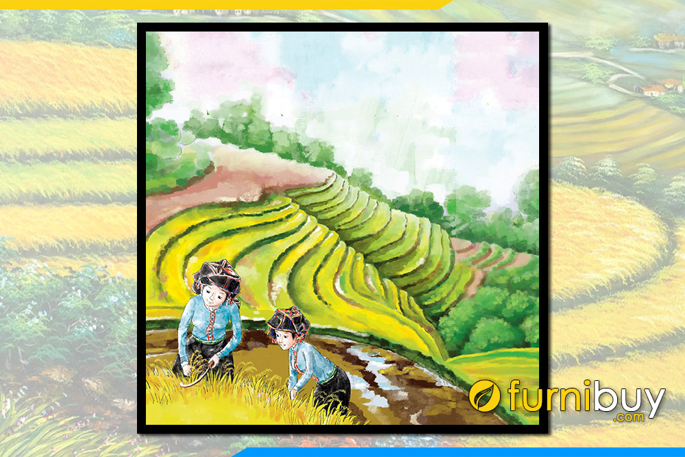 Buc tranh ve phong canh rung nui tay bac cua hoc sinh ve