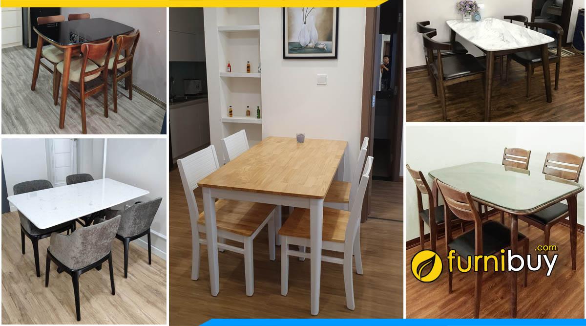Các bộ bàn ăn 4 ghế gỗ đẹp mẫu hót 2021