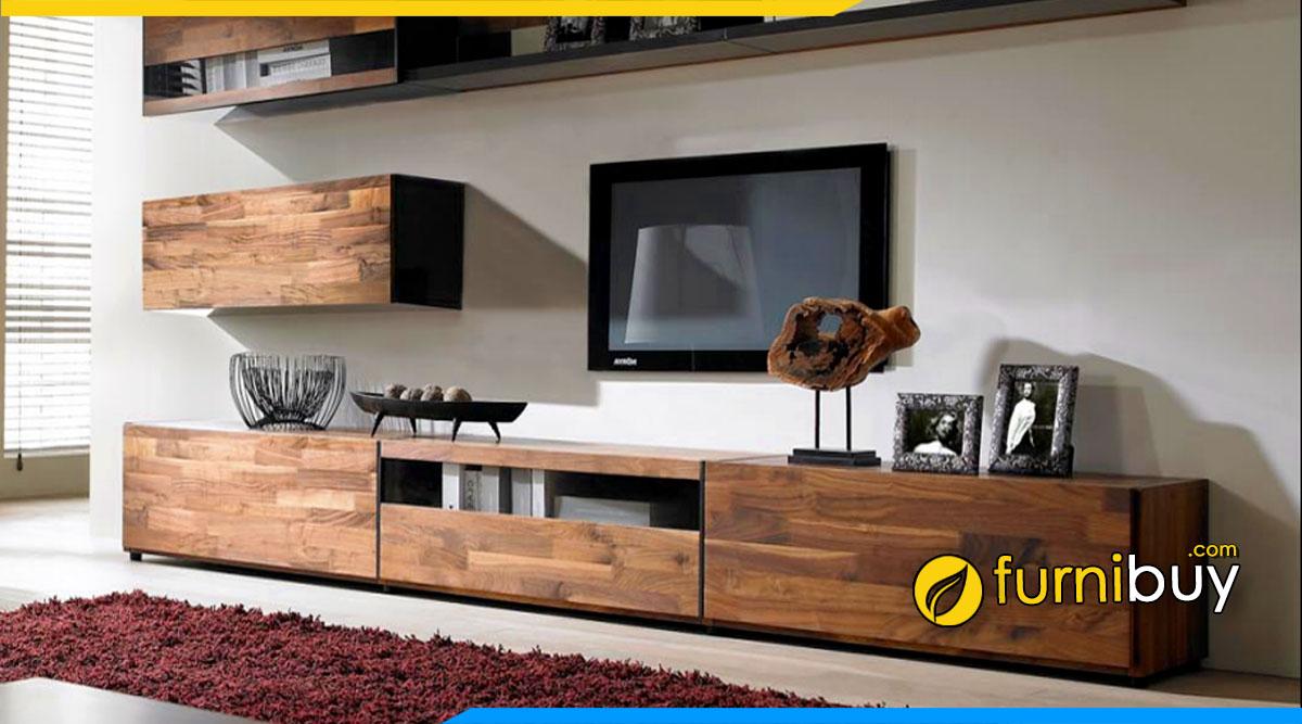 Chọn kệ tivi gỗ cho phòng khách rộng hiện đại