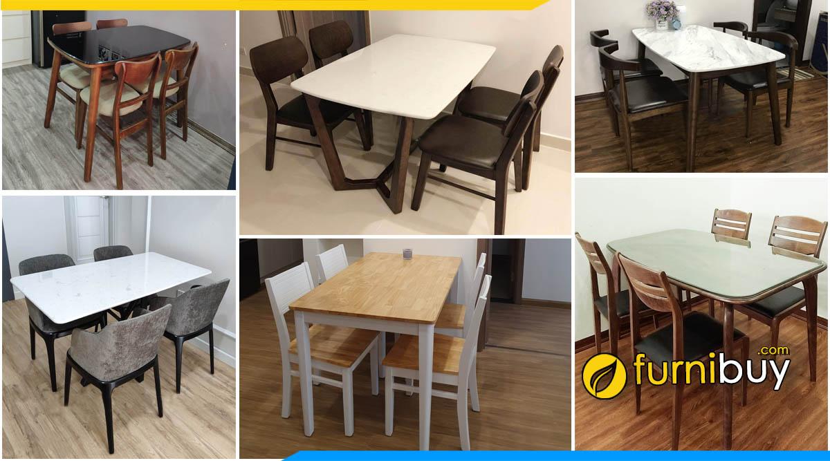 Cửa hàng bán bàn ăn 4 ghế giá rẻ Hà Nội tại xưởng Furnibuy