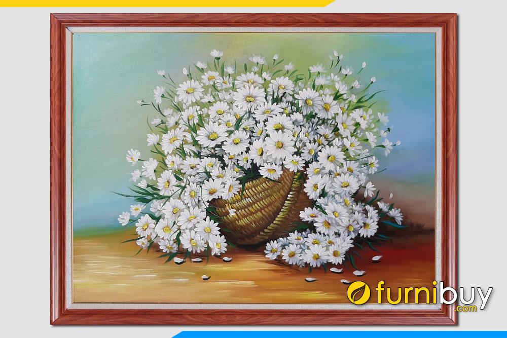 Tranh ve gio hoa cuc hoa mi trang son dau