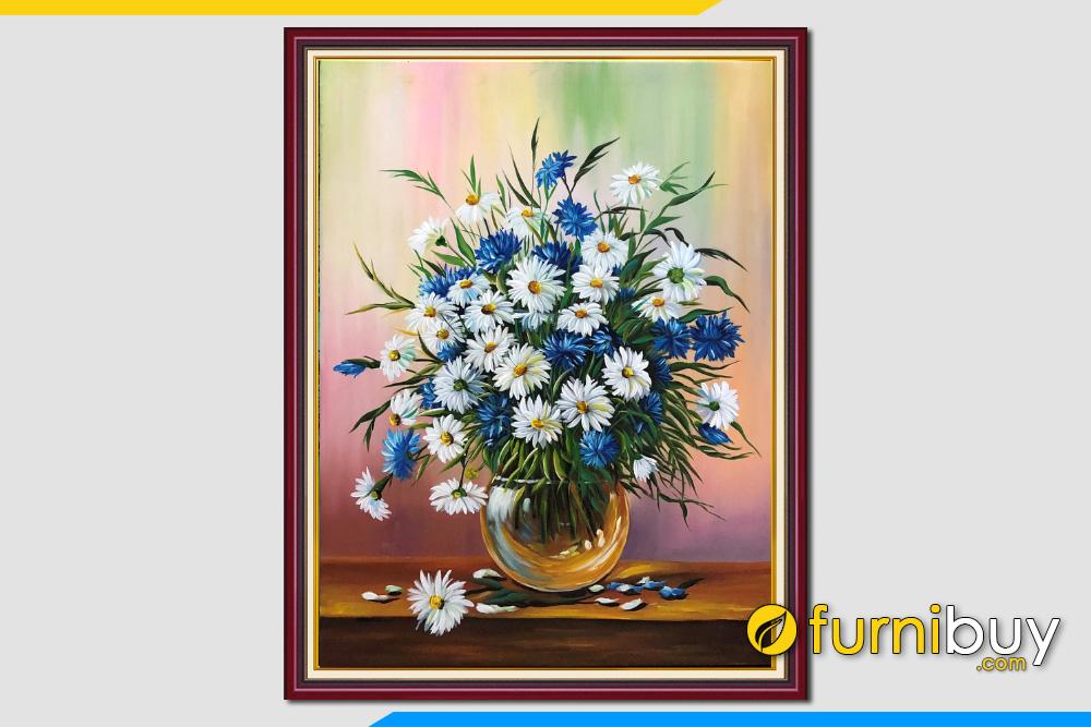 Tranh son dau binh hoa cuc kho dung dep