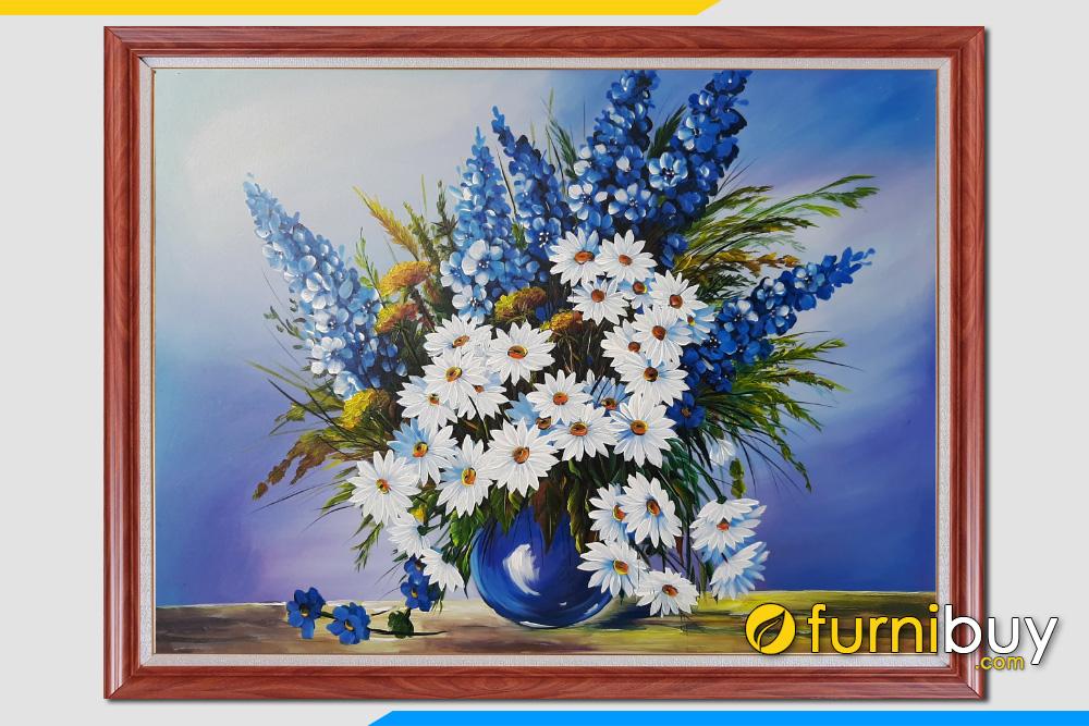 Tranh son dau ve binh hoa cuc va cac loai hoa bon mua