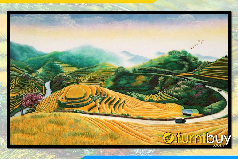 Tranh ve phong canh con duong vung cao doi nui ruong bac thang