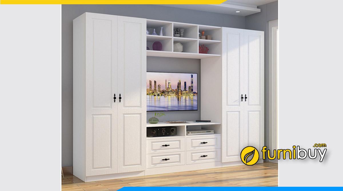 Hình ảnh Mẫu kệ tivi kèm tủ quần áo màu trắng đẹp hiện đại