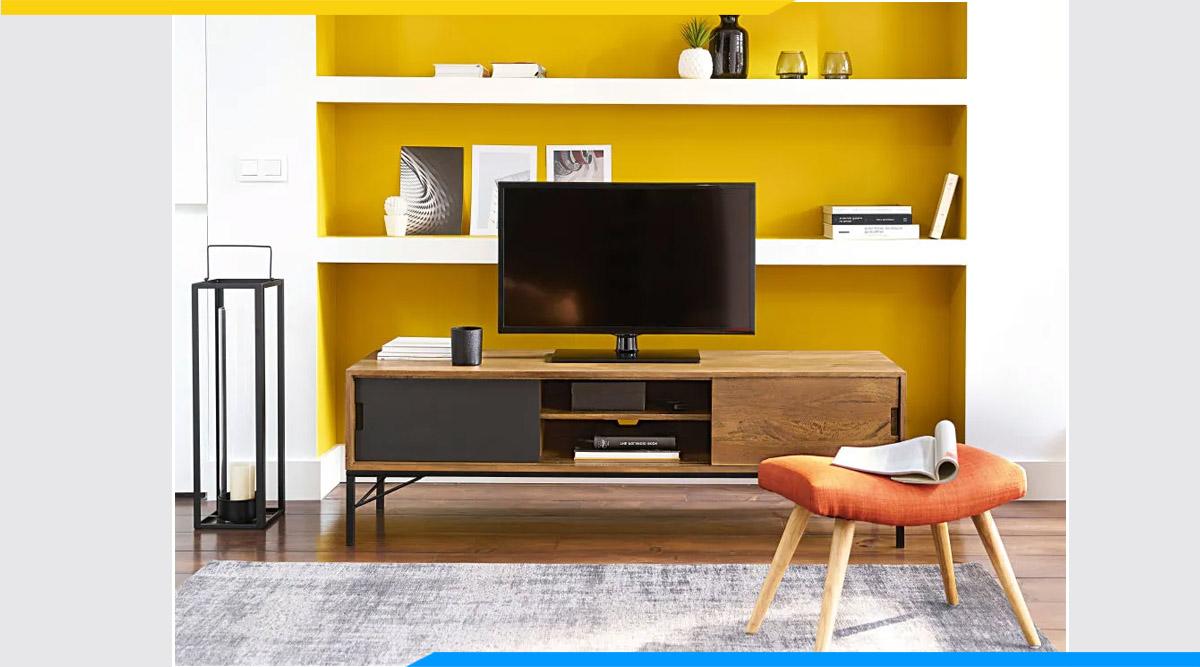 Mẫu Kệ tivi sắt mặt gỗ phòng khách chung cư
