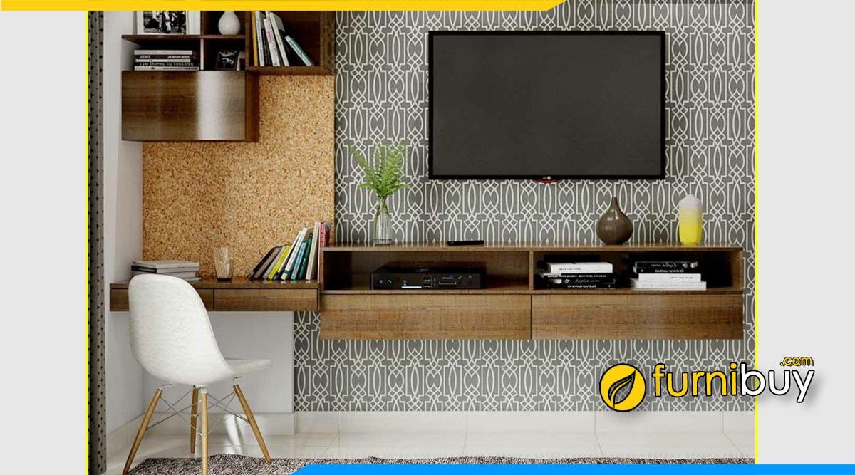 Hình ảnh Kệ tivi treo tường kết hợp bàn học hiện đại
