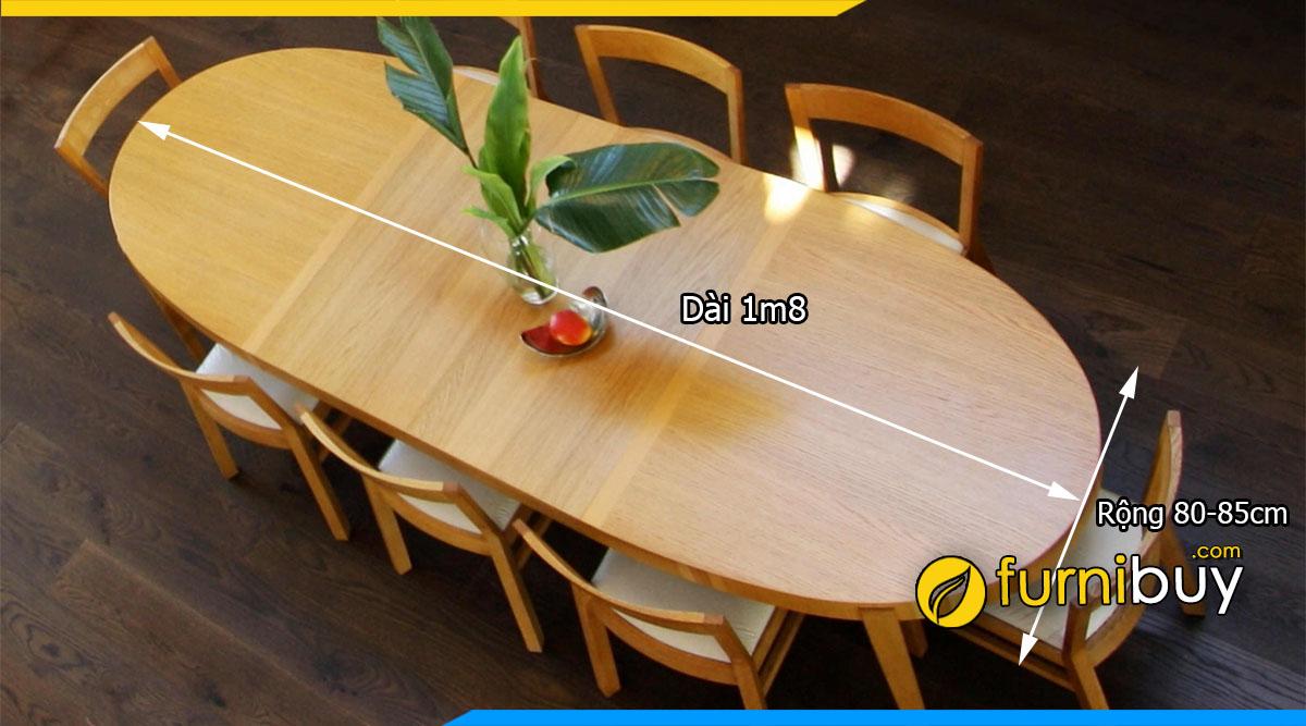 Kích thước bộ bàn ăn 1m8 chuẩn