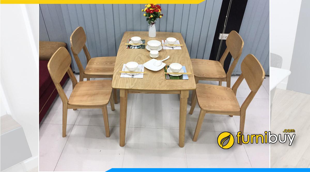 Hình ảnh Mẫu bàn ăn 4 ghế Mango gỗ tần bì đẹp giá rẻ