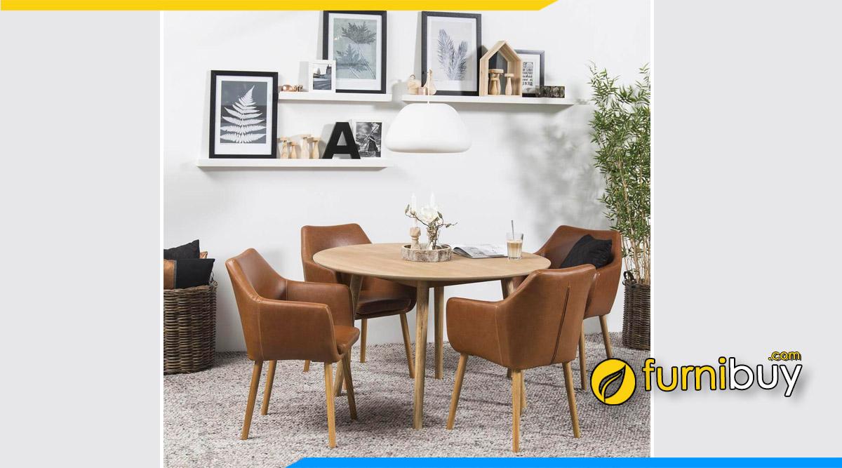 Hình ảnh Mẫu bàn ăn Scandinavian nệm da PU hình tròn đẹp