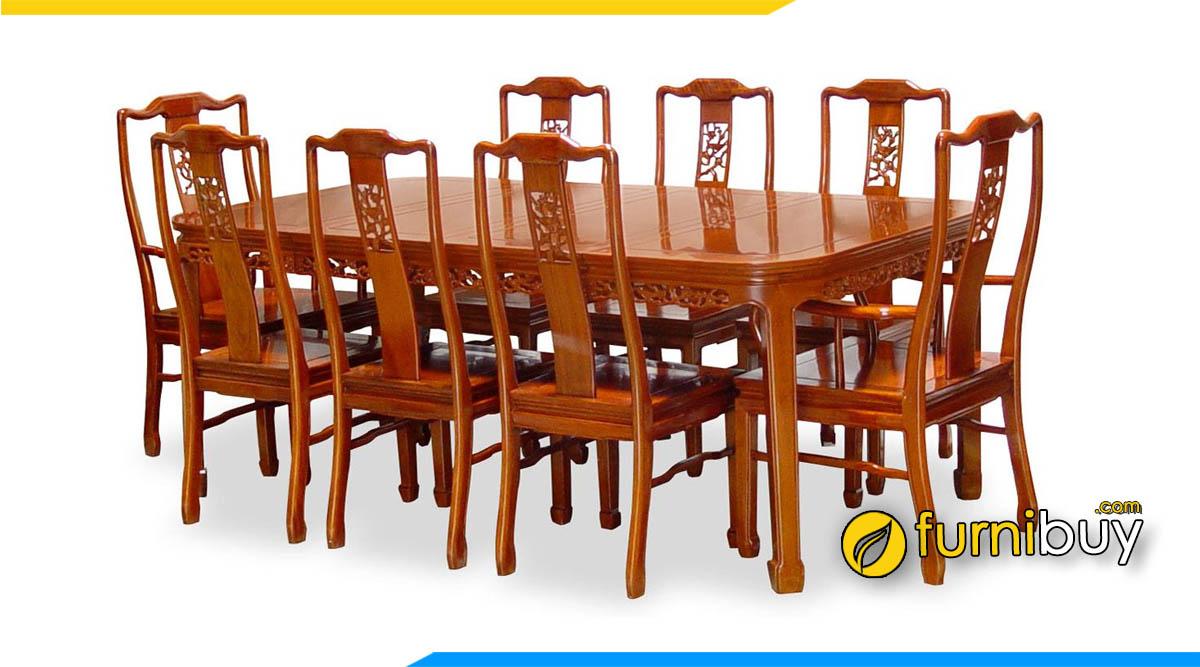 Mẫu bàn ăn gỗ hương 1m8+8 ghế đẹp