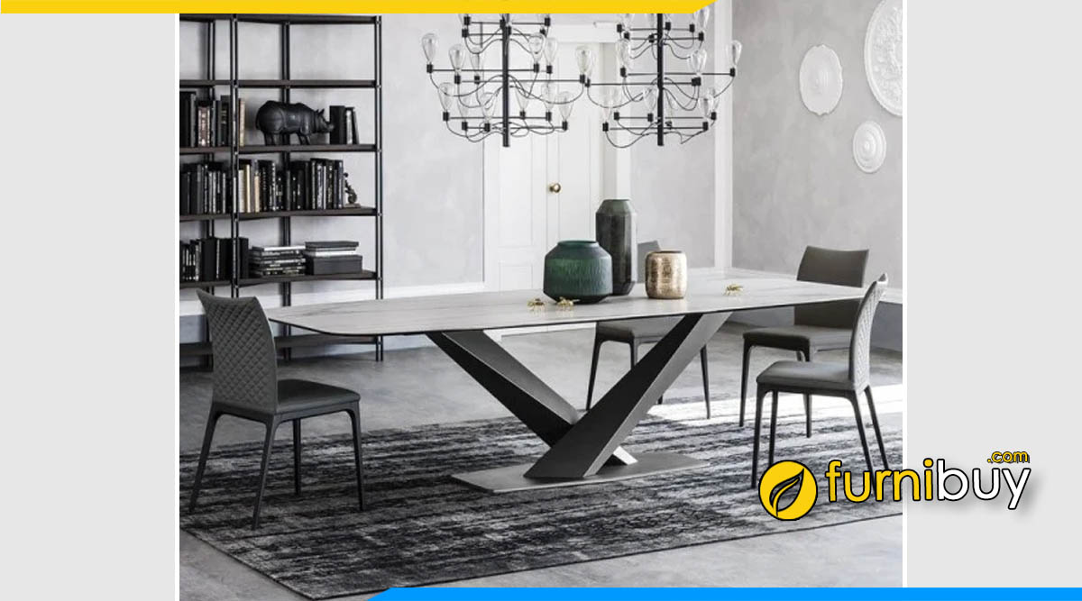 Hình ảnh Mẫu bàn ăn mặt đá Scandinavian đẹp 4 ghế