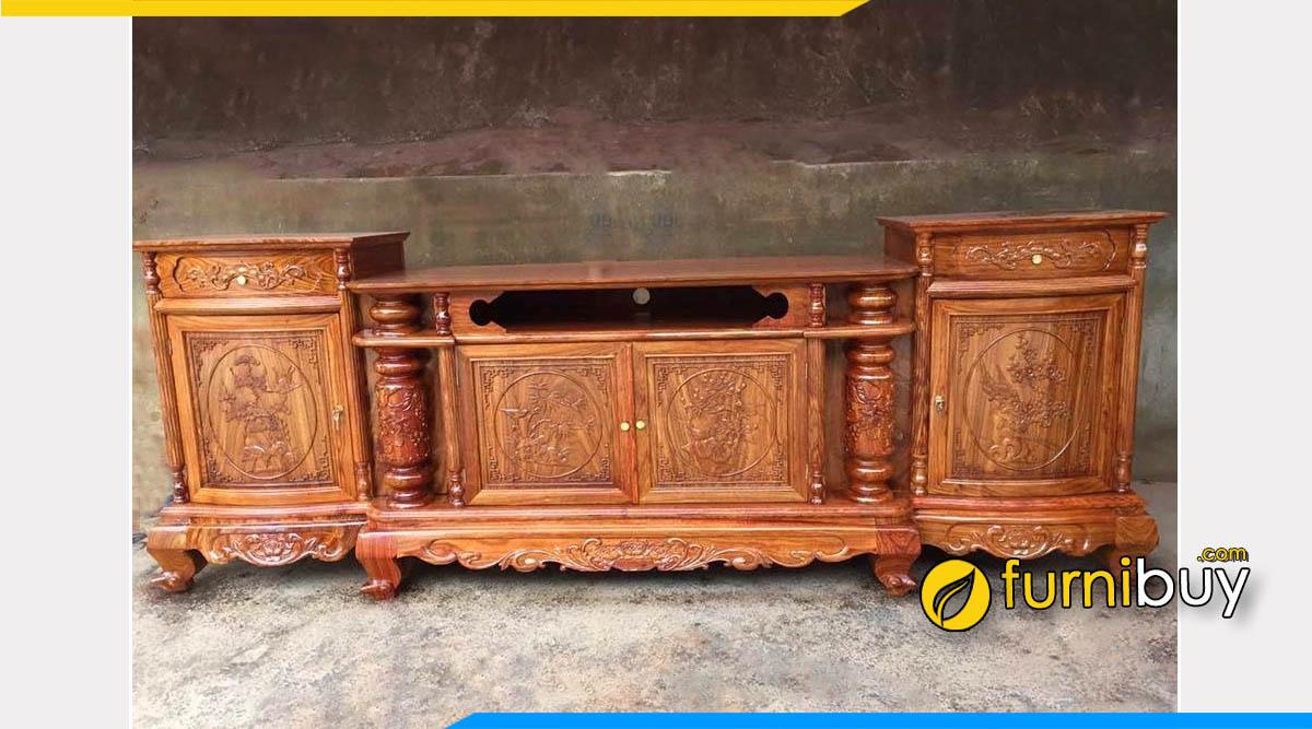 Hình ảnh Mẫu kệ tivi cột nho gỗ hương vân cao cấp