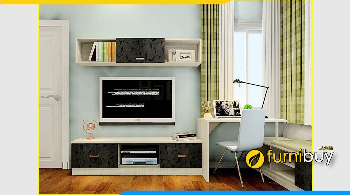 Hình ảnh Mẫu kệ tivi gỗ kết hợp bàn học hiện đại cho chung cư nhỏ
