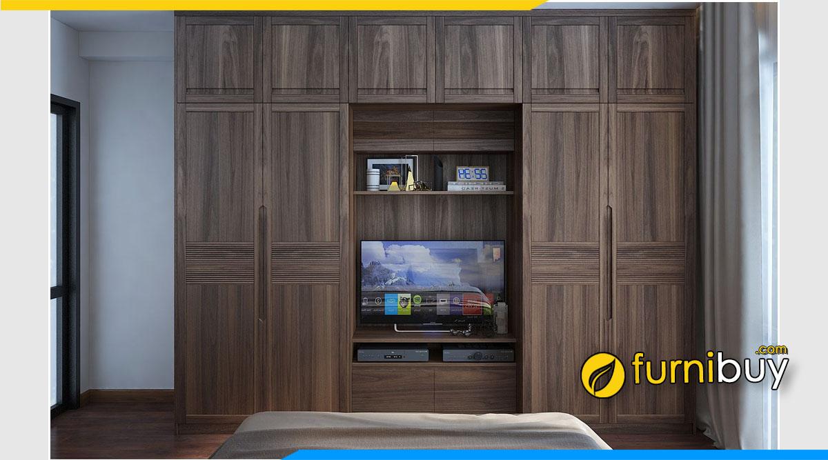 Hình ảnh Mẫu kệ tivi kết hợp tủ quần áo gỗ sồi tự nhiên màu óc chó đẹp