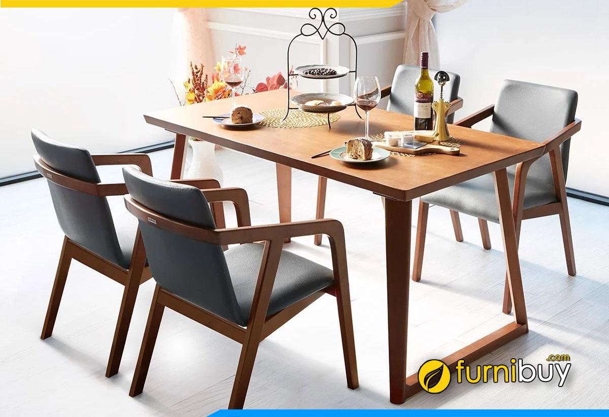 mua bàn ăn 4 ghế gỗ cao su cho gia đình