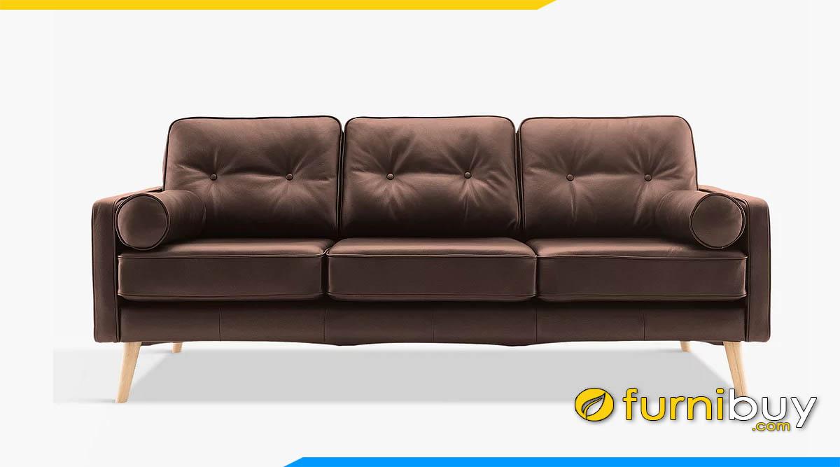 sofa 3 cho ngoi hien dai chan de cao mau nau