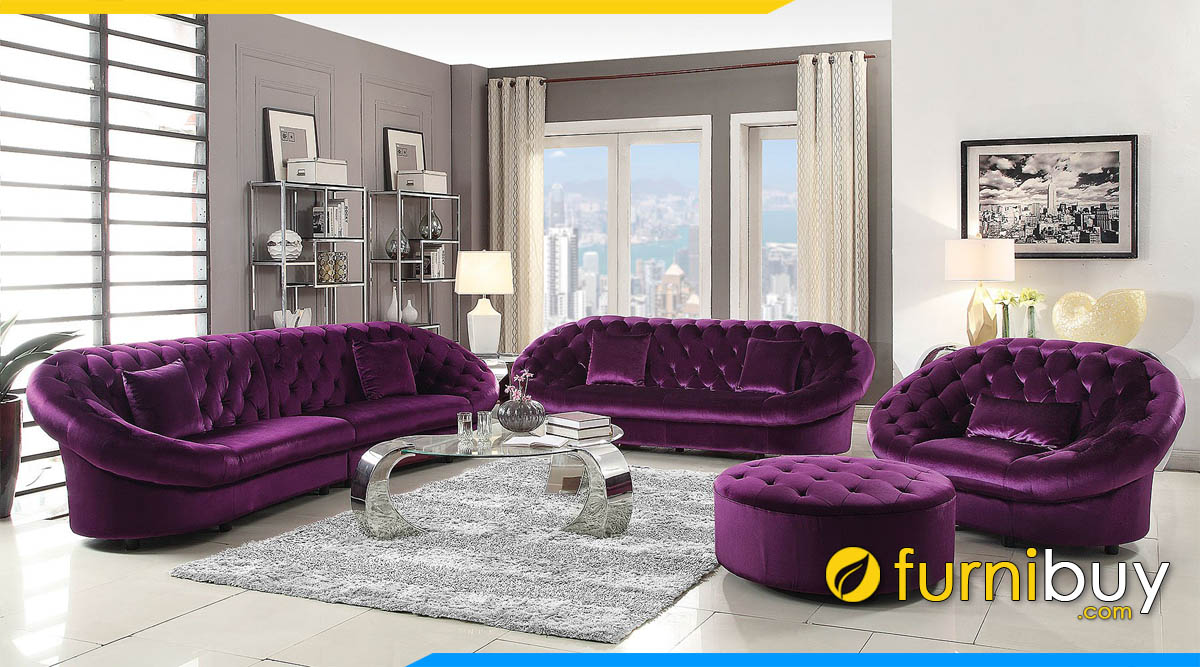sofa luxury mau tim ke can ho chung cu