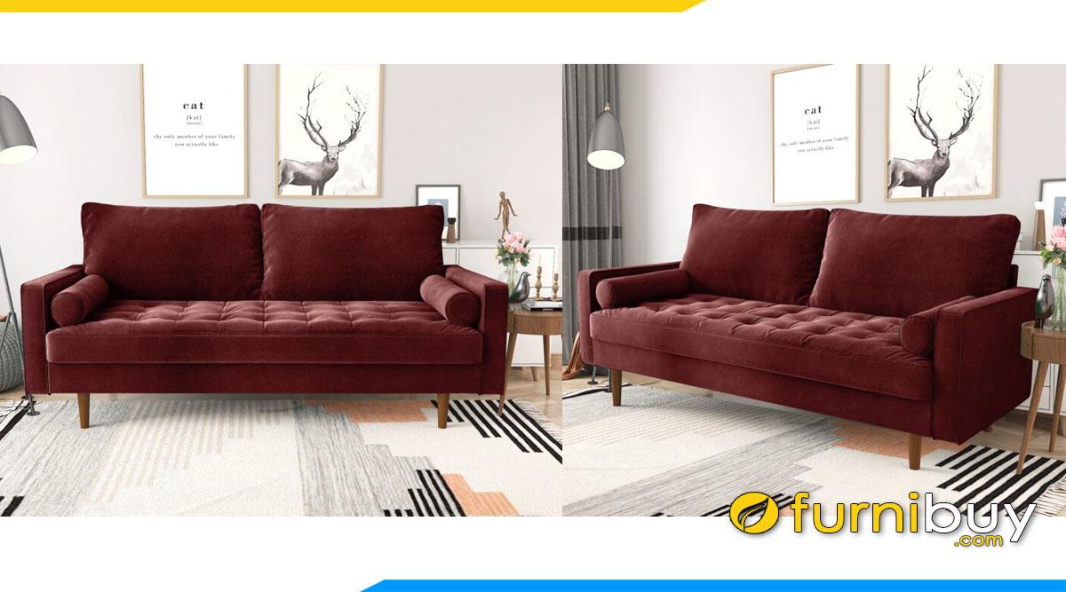 sofa mau do tham dang bang 2 cho ngoi