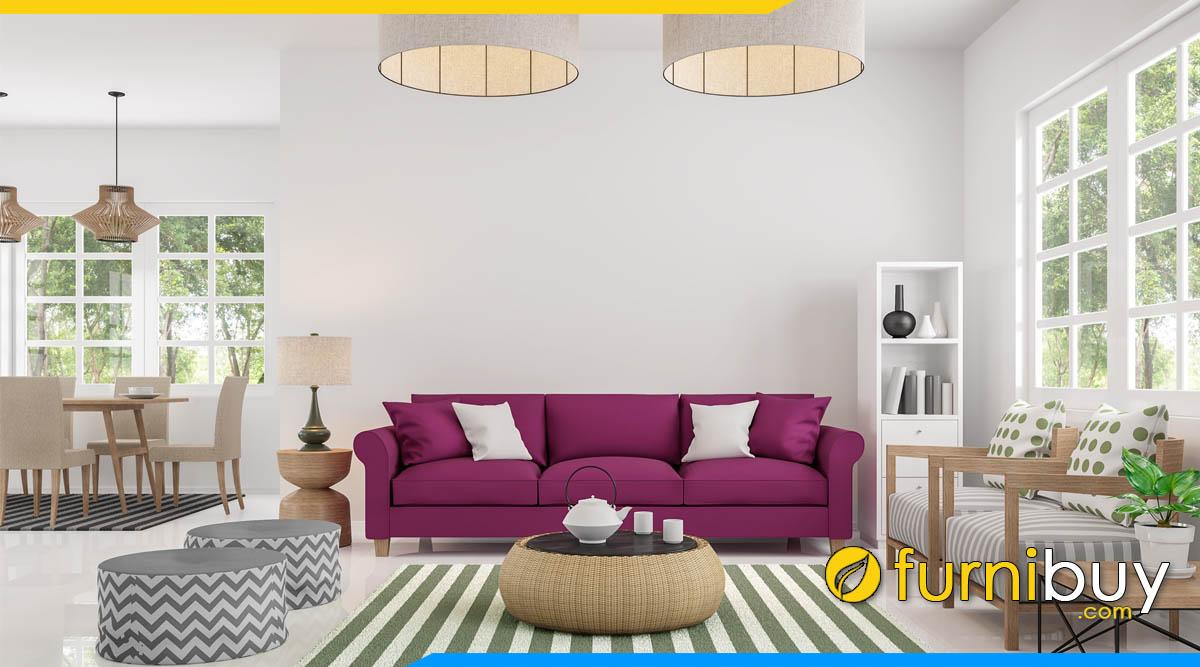 sofa phong khach dep dang vang 3 cho ngoi mau tim