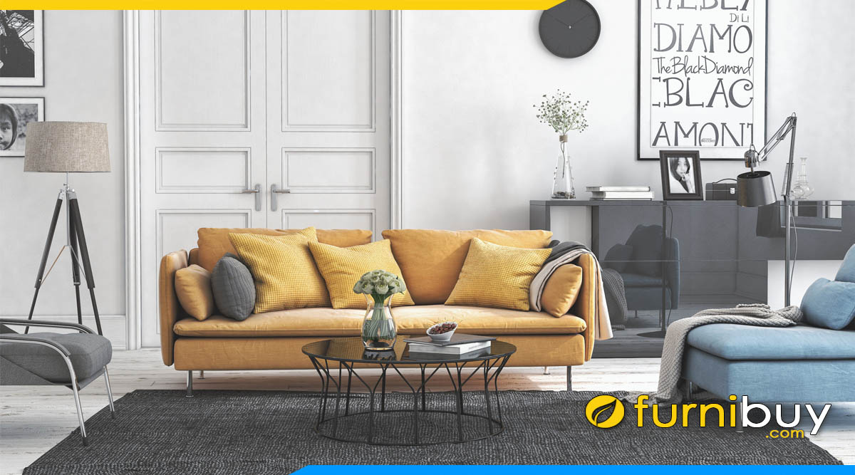 sofa phong khach chung cu dang vang mau vang sam
