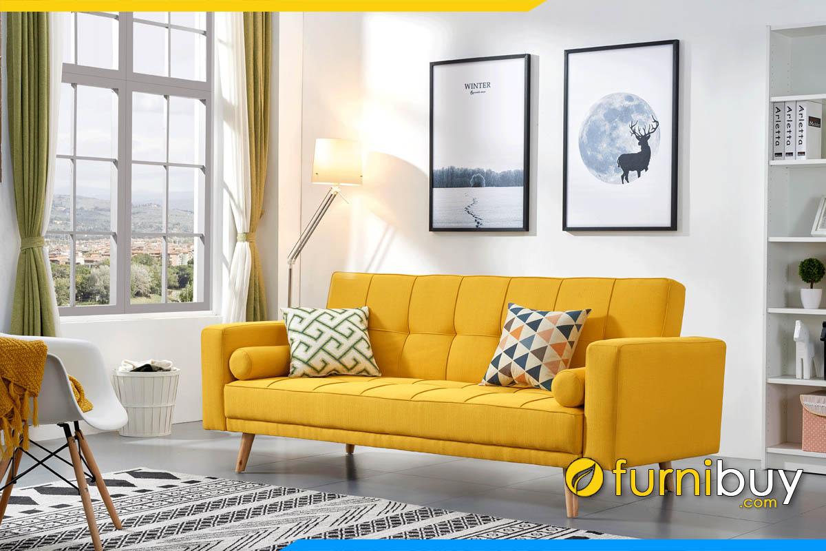 sofa phong khach dang bang mau vang hien dai