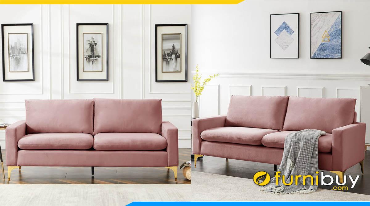 sofa phong khach nho xinh 2 cho ngoi mau hong dat