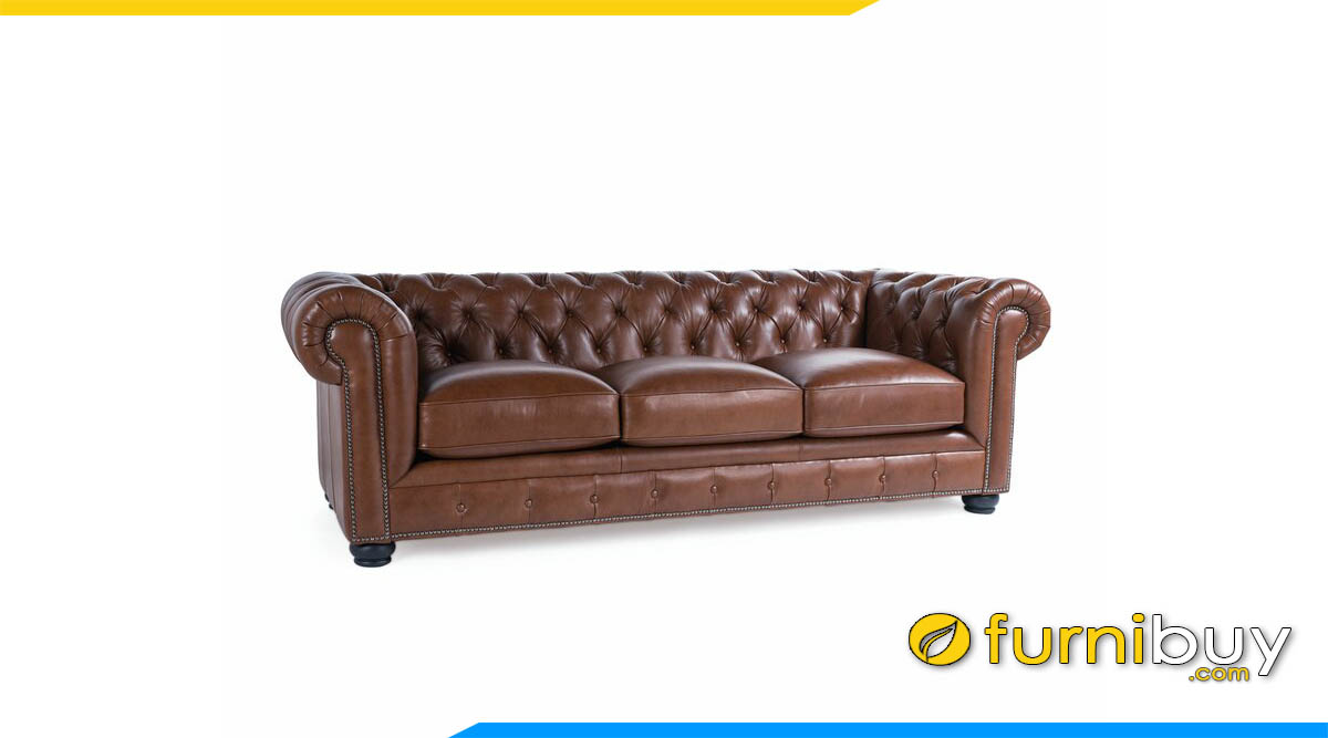sofa tan co dien boc da mau nau sang trong