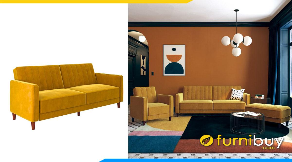 sofa vang 2 cho ngoi mau vang da bo hien dai