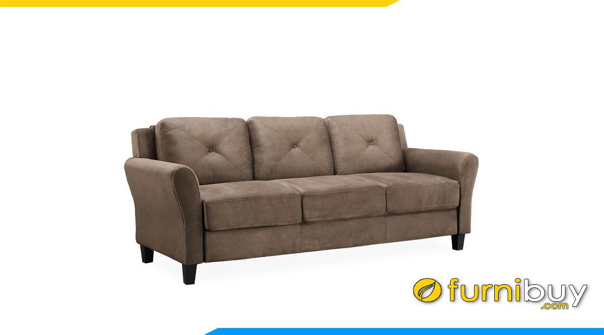 sofa vang 3 cho ngoi boc da mau nau