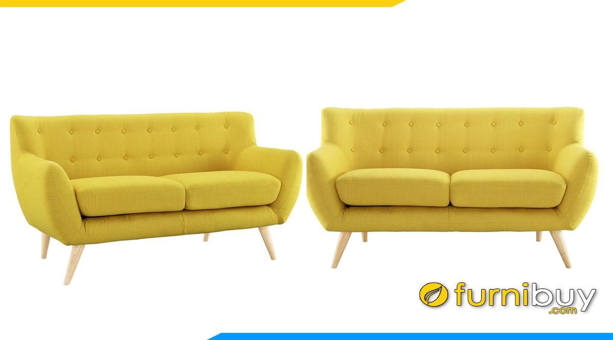 sofa vang hien dai 2 cho ngoi mau vang chanh tuoi sang