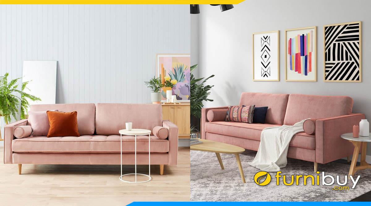 sofa vang nho mini mau hong ke phong khach