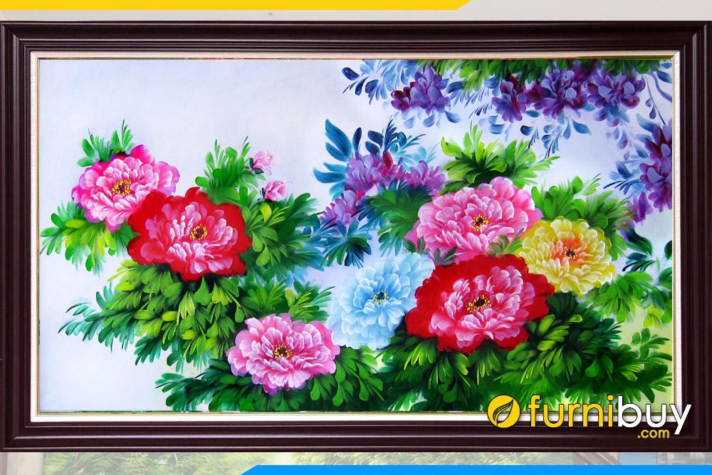 MAu tranh son dau dep ve hoa mau don phu quy