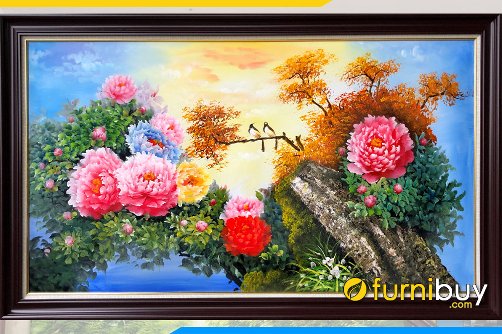 Buc tranh ve hoa mau don doi chim hy thuoc dep ban chay