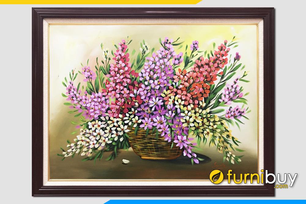 Tranh gio hoa son dau dep cam cac loai hoa