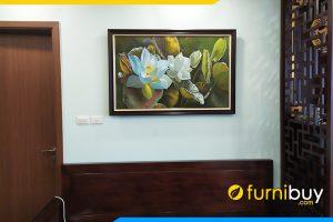 Tranh treo phong khach dep chung cu son dau hoa sen trang tsd 522